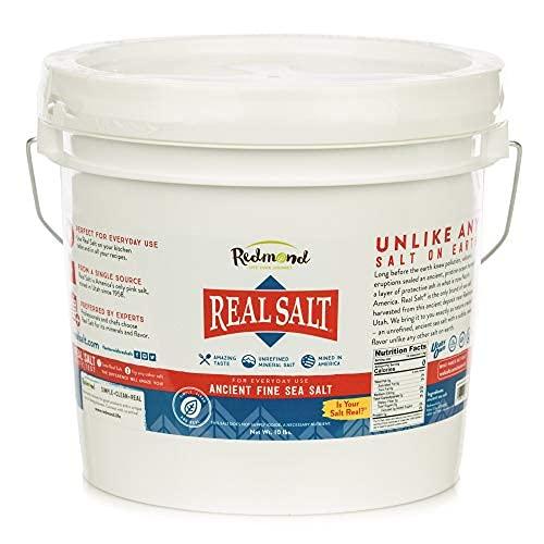 Redmond Real Sea Salt - Natural Unrefined Gluten Free Fine, 10 Pound Bucket