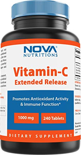 Nova Nutritions Vitamin C 1000 mg 240 Tablets (Extended Release) Made with Rose Hips, Rutin, Acerola Powder, Bioflavonoids