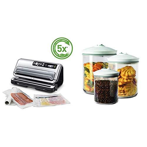 Foodsaver FFS006X-01 Envasadora al vacío, 125 W, Acero Inoxidable, Gris y negro + FSC003-I-065 -...