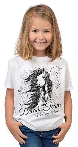 Pferde Sprüche Mädchen T-Shirt - Pferde-Motiv Shirt Kindershirt : Dream Team Me & My Horse - Coole Pferde-Sprüche Weisheiten Gr: S = 122-128