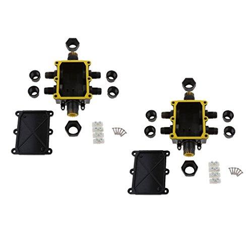 Bonarty 2 Piezas de 6 Vías, Impermeable, Exterior, Glándula Externa, Caja de Conexiones Eléctrica Subterránea