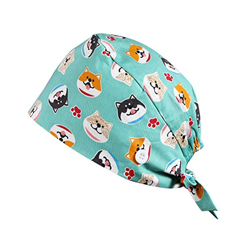 GAGABODY Working Cap with Button One Size Dog Cartoon Hats with Cotton Sweatband Adjustable Tie Back for Women Men
