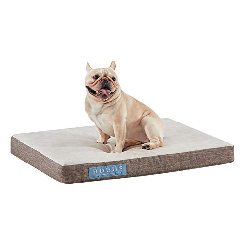 BDEUS Orthopedic Waterproof Dog Bed Gel-Infused Memory Foam Pet Bed for Large and Small Dogs , Plush Dog Bed Mattress for Joint Relief, Machine Washable Cuddler with Removable Cover for Dogs and Cats