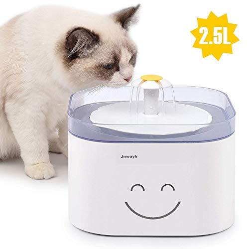 Jnwayb Katze Brunnen Katze Wasserspender, automatischer Brunnen 2.5L Wasserspender mit Aktivkohlefilter für Hund Katze Haustier Trinker für Hund B92 … (Katzenbrunnen Katzen Trinkbrunnen B92)