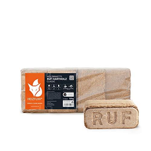 PALIGO Holzbriketts Ruf Hartholz Buche Eiche Kamin Ofen Brenn Holz Heiz Brikett 10kg x 3 Gebinde 30kg / 1 Karton Heizfuxx