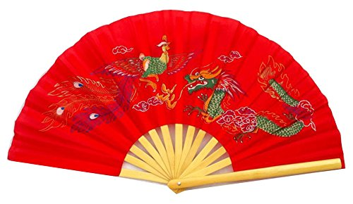 CHN elements.accessories fd-dp2-red Bambus Klapptisch Fan/Tai Chi/Kung Fu/Youri Martial Arts & Fan in Dragon & Phoenix Design