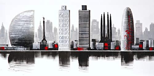 Cuadro Pintado Ciudad de Barcelona 100x50 cm, Moderno, en Blanco y Negro y Detalles en Rojo. 100% Original, sobre Lienzo.