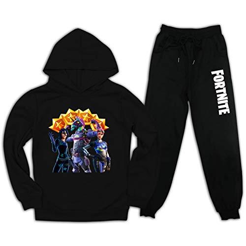 Fo-rt-Ni-te Kinder Jungen Mädchen Kapuzen-Sweatshirt Set und Sweatpants Anzug 2-teiliges Outfit Gr. S, Schwarz