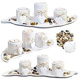 Juego de portavelas de té – Plato con forma de hoja – Piedras naturales – Arena decorativa – Blanco antiguo – Set de regalo – Pizarra de boda – Shabby Chic – rústico