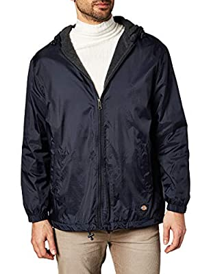 Dickies Men's Fleece Lined Hooded Jacket, Dark Navy, Medium