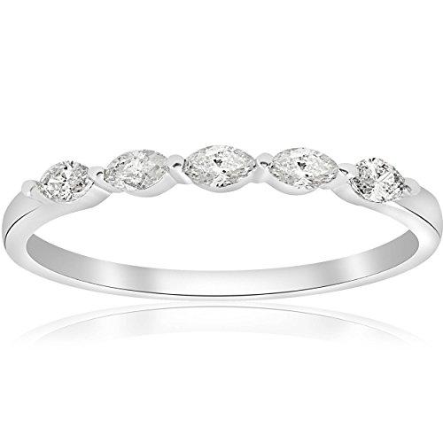 1/2ct Marquise Diamond Five Stone Wedding Ring 14K White Gold - Size 5.5