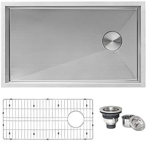 Ruvati 32-inch Slope Bottom Offset Drain Reversible Kitchen Sink Undermount 16 Gauge - RVH7490