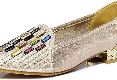 DFGBDFG PDX Chaussures Femme synthétique Talon bas Confort apparteHommests Bureau & carrière robe décontracté Noir doré