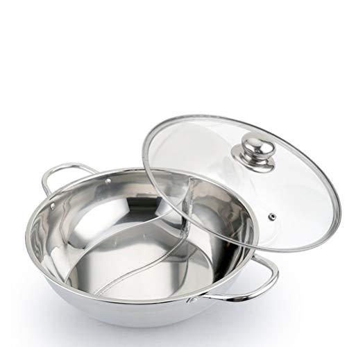 Yipianyun Edelstahl Dual Hot Pot Zwei Geschmack Trennung Induktion Shabu Suppe Kochtöpfe Mit Glasdeckel,1