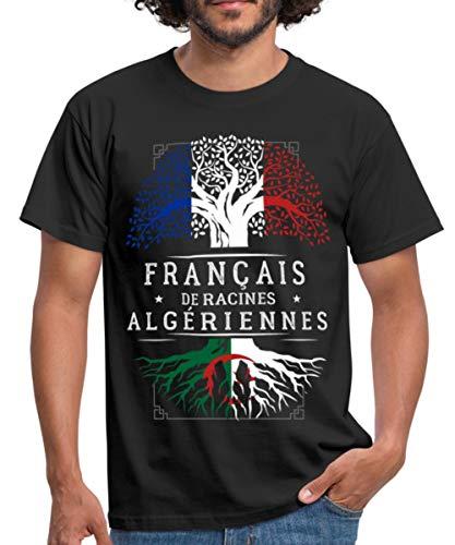 Spreadshirt Français De Racines Algériennes T-Shirt Homme, L, Noir