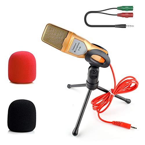 STAYOUNG Micrófono Condensador con Divisor De Audio Y Antipop, Micrófono Condensador Semiprofesional con Tripié, Micrófono de 3.5 mm Compatible con PC para Videoconferencias, Podcasts, Videoblogs