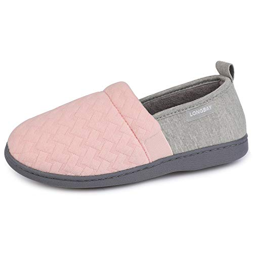 LongBay Women's Comfy Loafer Slippers Breathable Cotton Jersey Memory Foam House Shoes (Medium / 7-8, Pink)