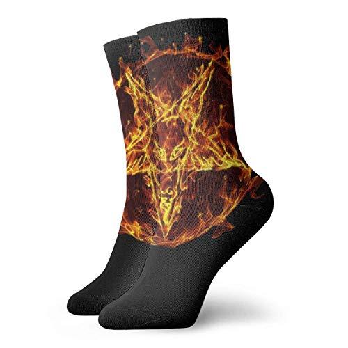 JONINOT SATANIC PENTAGRAM FIRE Calcetines deportivos de algodn informales esenciales para hombres Calcetines W8.5CM X L30CM