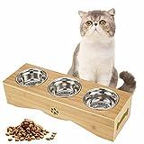 Katzennapf 3er Set, Futternapf Katze 3 Näpfe, Edelstahl Fressnapf auf Bambus Ständer, Erhöhte Futternäpfe schützt Halswirbelsäule, Futterstation für Katzen und kleine Hunde
