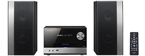 Pioneer X-PM12(B) Micro Hifi Anlage (CD, MP3/WMA, FM Radio, 2 x 38 W Ausgangsleistung, Lautsprecher, Bluetooth, Musik streamen vom Smartphone, App, USB/Audio in, kompaktes Design), Schwarz