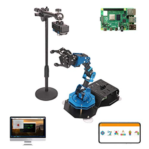 HGYYIO Robotic Arm Kit 6-DOF for Raspberry Pi 4B/4G, STEM Programmable Mechanical Arm Claw Kit, DIY Coding Robot Kit, with VNC Remote Desktop Control and APP Control, with Smart Bus Servo