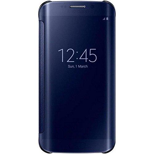 Samsung Handyhülle Schutzhülle Protective Case Cover mit Clear View Klarsicht Cover für Galaxy S6 Edge, schwarz