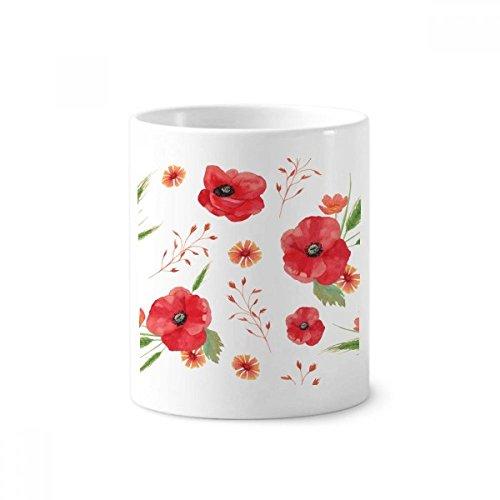 DIYthinker Aquarell Blumen Klatschmohn Ears Keramik Zahnbürste Stifthalter Tasse Weiß Cup 350ml Geschenk 9.6cm x 8.2cm hoch Durchmesser