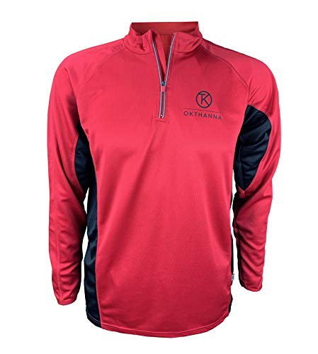 OKTHANNA T-shirt mannen lange mouwen trail running kleur wit en rood ideaal voor praktijk sport zoals basketbal golf fietsen tennis fitness basketbal voetbal gym kind joggingbroek