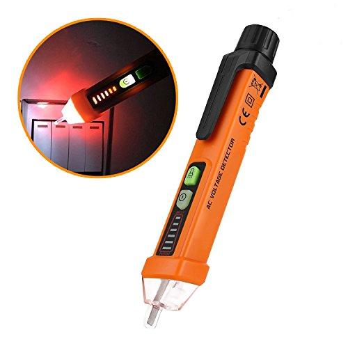 Medidor de voltaje eléctrico sin contacto, detector de voltaje pluma 12-1000 V AC Inductiva Herramienta de medición de voltaje digital con linterna LED, modo de alarma, juicio de cable nulo