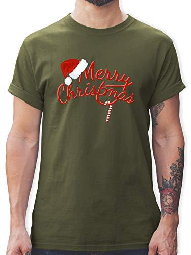 Weihnachten & Silvester - Merry Christmas Zuckerstange - XXL - Army Grün - Weihnachts t-Shirt Herren schwarz - L190 - Tshirt Herren und Männer T-Shirts