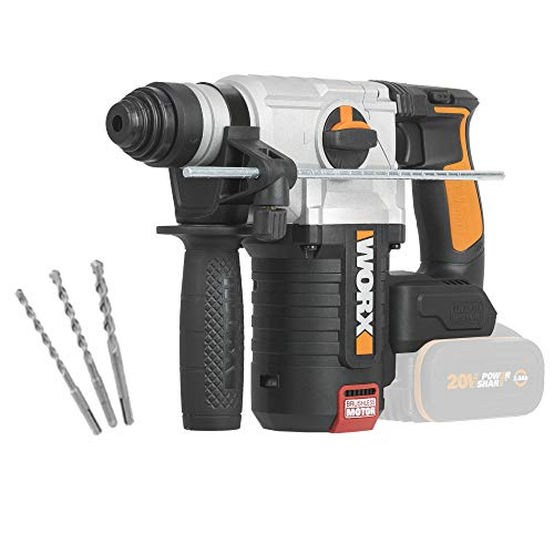 WORX WX380.9 Akku Bohrhammer – Bürstenloses 20V Werkzeug zum Bohren, Hammerbohren & Meißeln – Ohne Akku & Ladegerät