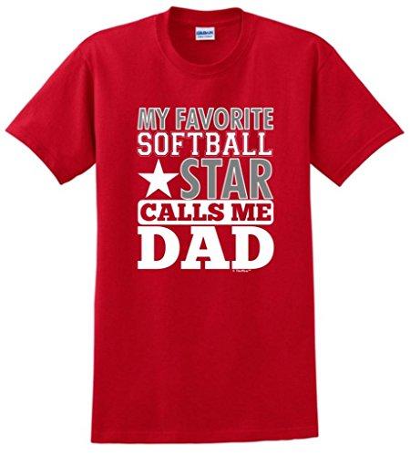ThisWear Camiseta My Favorite Softball Star Calls Me Dad - Rojo - Large