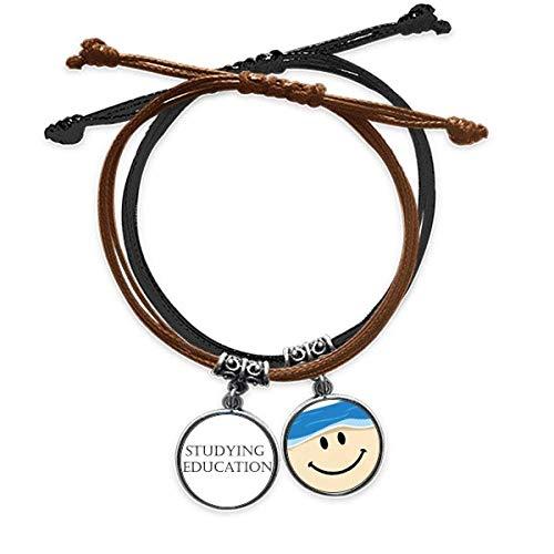 Bestchong Pulsera de cuerda para la educación con frase corta para el estudio de la educación de la mano de cuero con cara sonriente