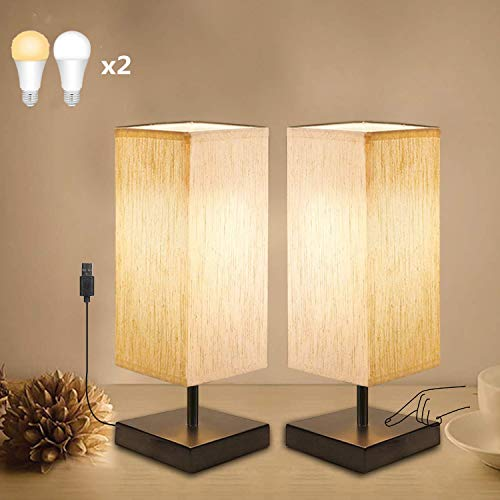 Touch Sensor Bedside Lamp Set of 2, Yuusei Dimmable Table Lamp with Square Linen Fabric Shade, 4 LED Bulbs Included, Low Voltage Nightstand Lamp for Bedroom, Living Room, Dorm, Baby Room