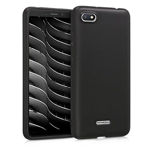 kwmobile Funda Compatible con Xiaomi Redmi 6A - Carcasa de TPU Silicona - Protector Trasero en Negro Mate