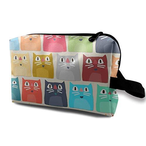 Cute Makeup Bags for Women Travel Toiletry Bag Color Cute Cats Travel Storage Bag Cosmetic Bag