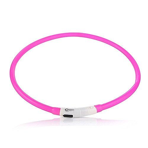 Case Wonder LED Leuchthalsband Hunde Halsband -USB Wiederaufladbar -Längenverstellbarer Haustier Sicherheit Kragen/Blinkende Kragen Deluxe -Improved Sichtbarkeit & Sicherheit (Rosa)