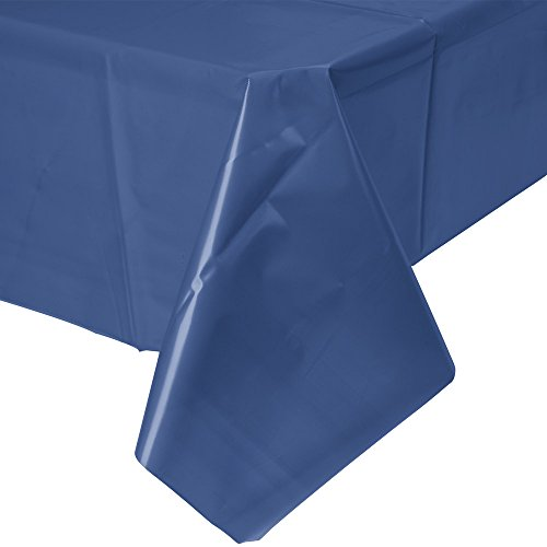"""Perfectware Table Cover Plastic Navy Blue-2 Navy Blue Plastic Dispoable Table Cover, 54"""" x 108"""", 0.1"""" Height, 108"""" width, 54"""" Length (Pack of 2)"""