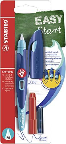 Ergonomischer Schulfüller für Rechtshänder mit Standard-Feder M - STABILO EASYbirdy in mitternachtsblau/azur - Einzelstift - Schreibfarbe blau (löschbar) - inklusive Patrone und Einstellwerkzeug