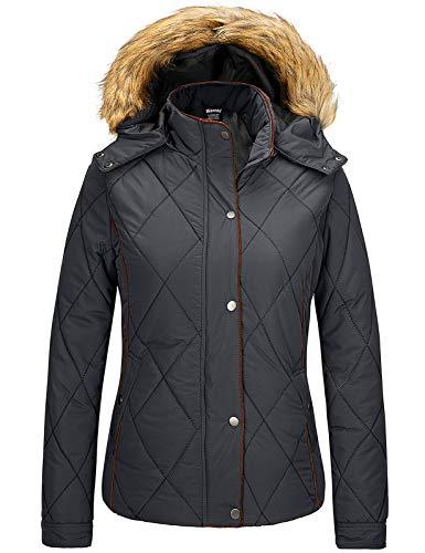 Wantdo Women's Winter Jackets Cotton Lined Quilted Warm Parka Coat Dark Grey M