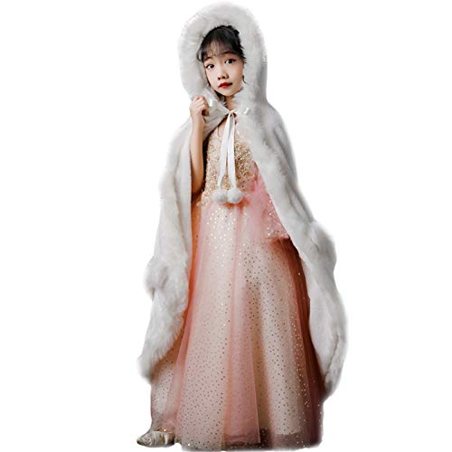MOMIN Capa con Capucha Kids Capa para niños Cloak Outumn Outing Girls Chaquetas Gruesas a Prueba de Viento Capa con Capucha Capa de niña Halloween Cape Girl (Color : White, Size : 130cm)
