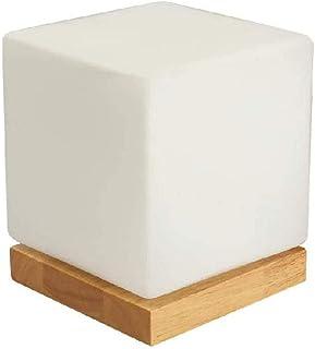 WYBFZTT-188 Mini Cube Tischlampe Schlafzimmer, Glasschirm Holzsockel Moderne Nachtschreibtischlampe for Wohn-Esszimmer Flu...