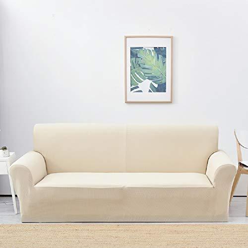 Lanqinglv Beige Elastisch Jacquard Sofaüberwurf Wasserabweisend Sofa Überwürfe 1/2/3/4 sitzer Sofabezug Einfarbig Couchbezug Sesselbezug rutschfest Abwaschbar