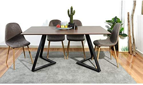 Diese Tabelle kombiniert Retro und Moderne Charme ideale Basis Kegel rechteckiger Tisch Restaurant Abendessen 4-6 Personen,Brown