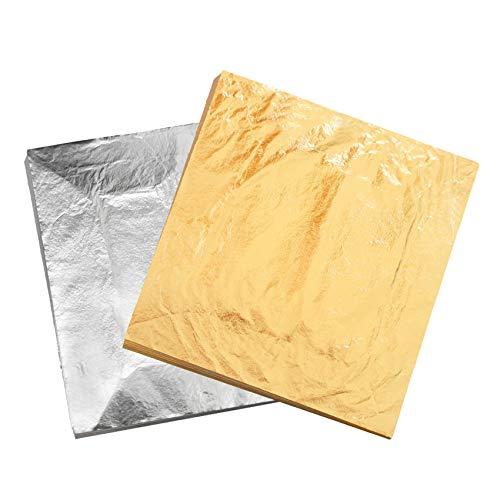 """VGSEBA Pan de Oro de Imitación 200 hojas 14cm(5.5"""") para Lámina Dorada para Dibujos, Artesanías, Manualidades, Uñas, Muebles (Dorado y Plateado)"""