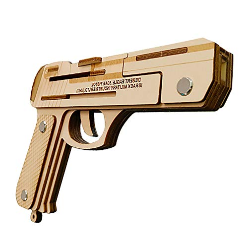 XJ0526 3D Wooden Puzzle, Gun Model,DIY Assembled Woodencraft Toy Set, Children's Puzzle Casual Wooden Educational Toys(Desert Eagle)