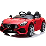 Bilidex 2 Seats Electric Cars for Kids, 12V Battery Kids Ride on Car with Remote Control, Bluetooth, Safety Belt, Horn, LED Lights, Openable Doors (Red)
