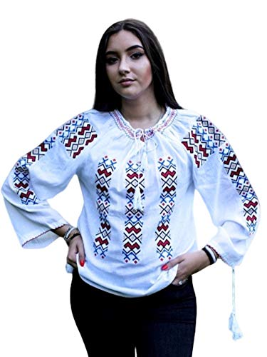 Romanian Folk Blouse Ie Romanian Gift Shirt Embroidered Top Traditional Costume Womens Clothing (Small // Medium) White