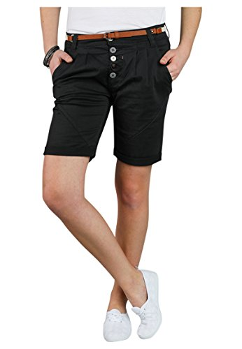 Sublevel Damen Chino Bermuda Shorts mit Knopfleiste Black L