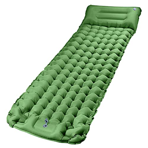 Camping Sleeping Pads Mat, CHYBFU Upgraded Extra Width & Thickness Inflatable Camping Pad with Foot Press Lightweight Backpacking Sleeping Mat for Hiking & Traveling Waterproof Compact Air Mattress